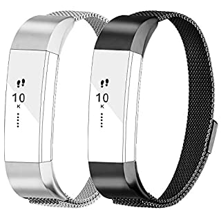 AdePoy Replacement Milanese Straps Compatible For Fitbit Alta and Alta HR 2pack black silver Small