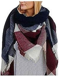 Hengsong Écharpe Chale Femme Cachemire Chaud Automne Hiver Grand Plaid  Tissu Glands Foulard cc4758148b7