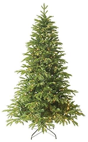 Forever Green Premium 958804 Anson künstlicher Weihnachtsbaum, PVC plus PE, H 150 x D 109 cm inklusive 192 LED Lichter, 1,025 Spitzen, Metallständer, grün