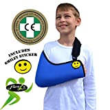 Child Arm Sling Shoulder Support (Blue, 10-11yrs) XTRA deep, light, airflow cooling ULTRA COMFORT. PLAY-SAFE with integrated functional thumb loop, easy sizing adjustable fit, reversible L/R arm. Includes SMILEY sticker. UNISEX.