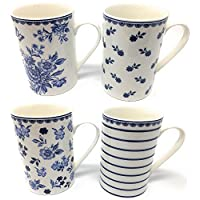 Set of 4, High Quality Fine China Mugs, Blue and White Floral Design