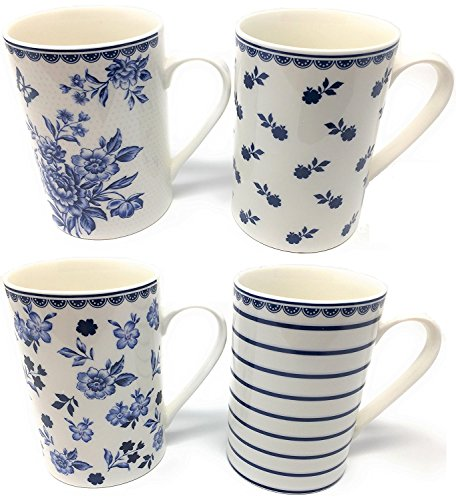 Feine Porzellan-Tassen, 4er-Sets, viele Designs - Gut verpackt - Hohe Qualität - Blue and White Floral Hohe Tasse