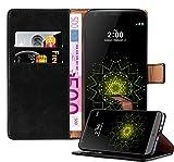 Cadorabo Hülle für LG G5 - Hülle in Graphit SCHWARZ – Handyhülle im Luxury Design mit Kartenfach und Standfunktion - Case Cover Schutzhülle Etui Tasche Book