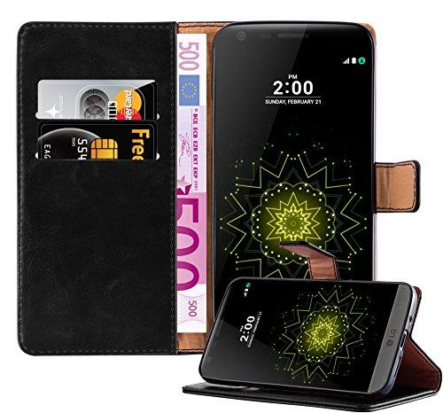 Cadorabo LG G5 Custodia di Libro di Finta-Pelle Luxury in Nero Grafite – con Vani di Carte e Funzione Stand – Portafoglio Cover Case Wallet Book Etui Protezione