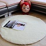Weicher runder Plüschteppich aus Kunstfell, mit 3,5cm Felllänge, Polyester, weiß, diameter 100cm