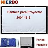 """NIERBO 200"""" Pantalla de proyección 3D Pantalla Portátil 16:9 450X256 cm Blanco Para cine en casa campamento"""