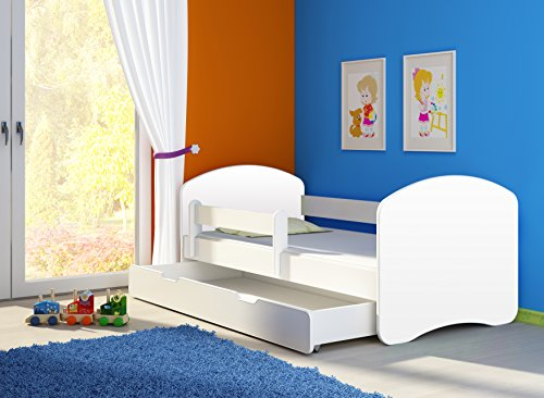 *Kinderbett Jugendbett mit einer Schublade und Matratze Weiß ACMA II (180×80 cm + Schublade, Weiß)*