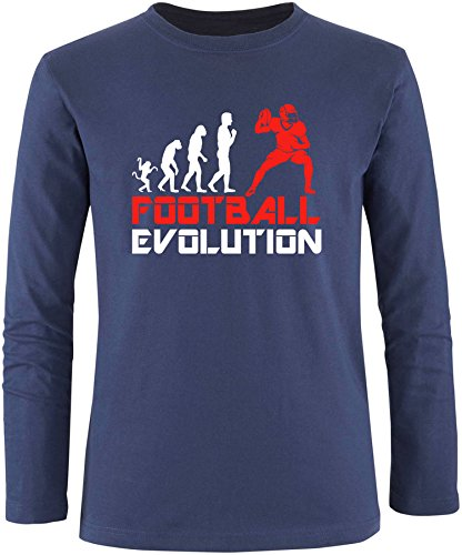 EZYshirt® Football Evolution Herren Longsleeve Navy/Weiss/Rot
