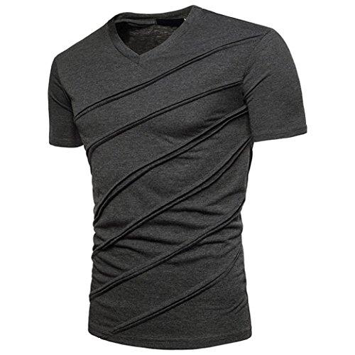 ASHOP Herren T-Shirt Mode Persönlichkeit Casual Schlank Solide Kurzarm Top Bluse (S, Dunkelgrau)