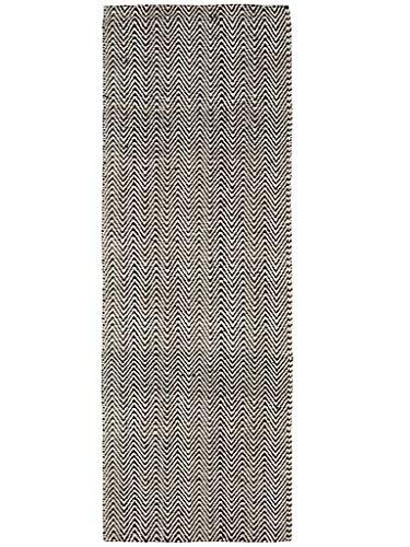 Benuta Teppich Läufer Ives, Baumwolle, Sisal/Jute, Schwarz/Weiß, 80 x 300.0 x 2 cm
