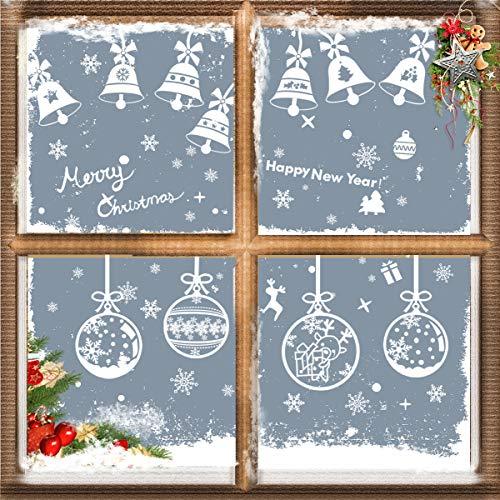 Yvonnesly Fensterbilder Winter, Schneeflocken Fenster Aufkleber Weihnachts Fensterdeko Weihnachtsdeko Fenstersticker Wandabziehbilder Dekoration im Set Haftende PVC (43 * 30 cm 4 Stücke)