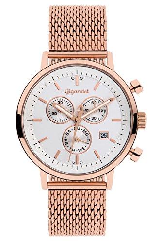 Gigandet G6-014 Armbanduhr, Edelstahl-Armband roségoldfarben