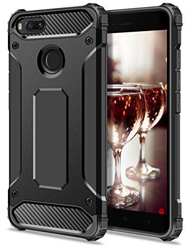 Xiaomi Mi A1 Hülle, Coolden Premium [Armor Serie] Outdoor Stoßfest Handyhülle Silikon TPU + PC Bumper Cover Doppelschichter Schutz Hülle für Xiaomi Mi A1/5X (Schwarz)