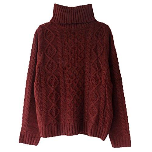 ZKOO Suéter De Cuello Alto Mujer De Punto Invierno Moda Jerséis Pullover Acanalado Suéter