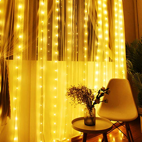 MoKo Window Curtain String Lights with Remote Control, 300 LED Icicle Fairy Lights with 8 Lighting Modes for Bedroom, Wedding, Balcony, Outdoor or Indoor Wall Decoration - Warm White