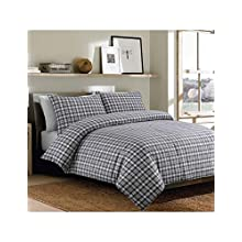 Sleepdown Bonton Flannel Grey Plaid Soft Duvet Cover Quilt And Bedding Set With Pillowcases - King (220cm x 230cm)