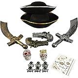 com-four® Zubehör-Set II. für Piraten-Kostüme - Ideal für Karneval, Motto-Partys und Kostümveranstaltungen (15-teilig - für 2 Erwachsene)