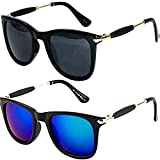 Y&S Sunglasses for Boys Stylish Mens Combo Goggles for Girls under 500 Branded Sun Glass for Women at Discount (BlackBlack BlueMercury GoldenSticks Wayfarer) (combo-wf-silver-stick-1806)