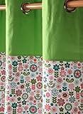 Homescapes dekorativer Vorhang Ösenvorhang Dekoschal Retro Flower im 2er Set, grün orange weiß, 137 x 182 cm (Breite x Länge je Vorhang), 100% reine Baumwolle