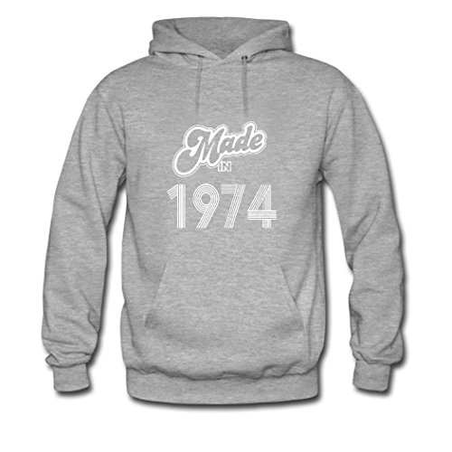 HGLee Printed Personalized Custom Made In 1974 Classic Women Hoodie Hooded Sweatshirt Gray--1