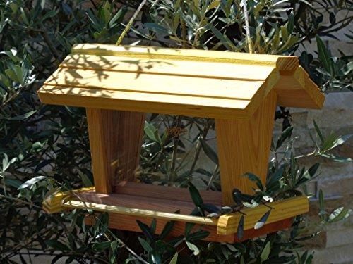 vogelhaus mit ständer BEL-X-VOFU2G-MS-gelb002 Großes PREMIUM Vogelhaus mit ständer + 3D-Riesensilo / Futterschacht Futterautomat MASSIV + WETTERFEST, QUALITÄTS-SCHREINERARBEIT-aus 100% Vollholz, Holz Futterhaus für Vögel, MIT FUTTERSCHACHT Futtervorrat, Vogelfutter-Station Farbe gelb kräftig sonnengelb goldgelb, Ausführung Naturholz, mit KLARSICHT-Scheibe zur Füllstandkontrolle - 4