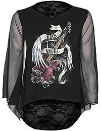 Spiral Haut avec dos en dentelle pour femme Style Gothique Motif Rock Angel Noir