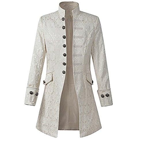 (Rera Herren Frack Steampunk Jacke Männer Gothic Smoking Coat mit Stehkragen Vintage Uniform Kostüm Viktorianisch Mittellang Mantel)
