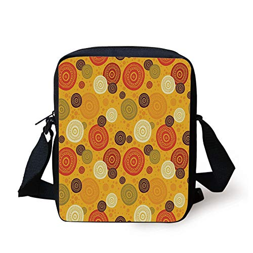 CBBBB Yellow Mandala,Kaleidoscopic Flora Pattern Folkloric Circular Round Disk Shapes Doodle Dots Decorative,Multicolor Print Kids Crossbody Messenger Bag Purse -