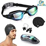 PrimAlite Swimming Kit- Swim Goggles and Swim Caps Combo Set, Nose Clip, Ear Plug & Case- Silicone Non-Slip Material on Glasses & Cap, Anti-Fog, UV Protection, Long Hair- Adults Men Women
