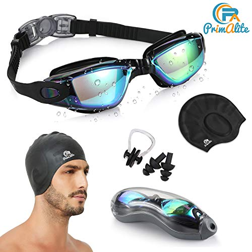 PrimAlite Silicone Non-Slip Material Swimming Kit with Anti-Fog, UV Protection Swim Goggles and Long Hair Caps Combo Set, Nose Clip, Ear Plug and Case for Adults Men and Women , Black