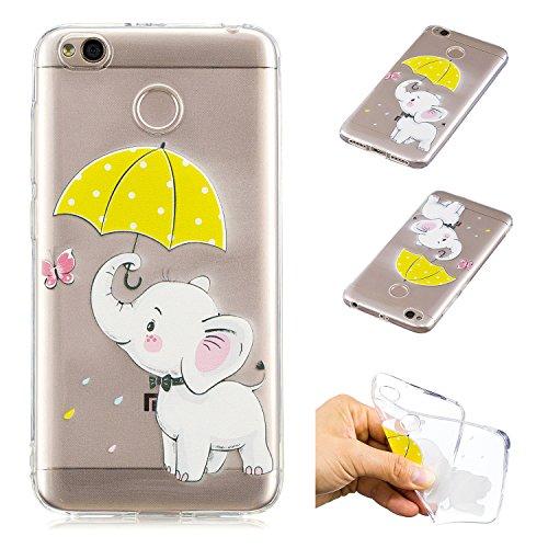 1e75b1d5aa Custodia per Xiaomi Redmi 4X,Cover Trasparente per Xiaomi Redmi 4X,Leeook  Carina Divertente Creativo Ombrello Elefante Modello Morbido Trasparente ...