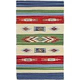 Jute & Co Kilim Alfombra, Camino de algodón, hecha a mano, multicolor, 55x 90cm