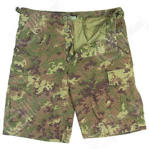 Designer Fashion Herren Army Military Camo Cargo Pants Prewash Vegetato (S) (Camo Woodland Military Shorts)