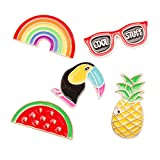 Hawaii Luau Party spilla pin lega Breastpin gioielli regali per gli amici Dress decorazione Luau favori del partito, Tinksky 5pcs - Rainbow occhiali Bird anguria ananas