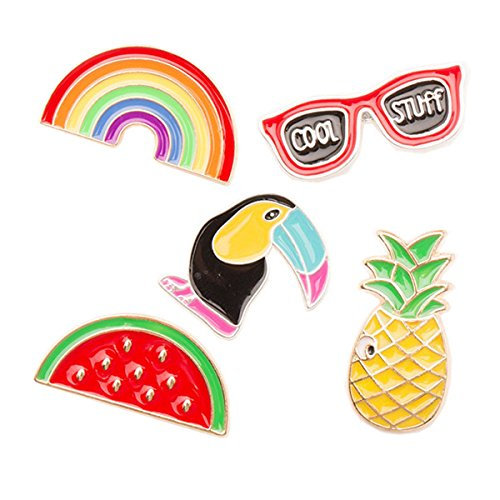 Hawaii Luau Party spilla pin lega Breastpin gioielli regali per gli amici Dress decorazione Luau favori del partito, Tinksky 5pcs - Rainbow occhiali Bird anguria ananas