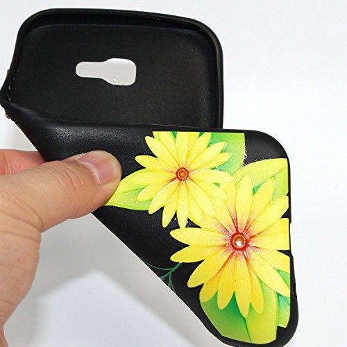 Linvei Samsung Galaxy A3(2017) Etui Cuir Coque,[Conception de motif coloré][PU Cuir Housse][Portefeuille Flip][Stand soutien/Card Slot /fermeture magnétique]-Plante tropicale verte Design marguerite jaune