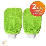 labels2friends Microfaser Handschuhe clean2clean (2-teilig) | 2 x Mikrofaser Handschuhe (grün) für Alle Flächen (Auto, Heimwerken, Garten, Küche, Bad)