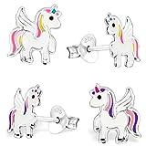GH* KIDS 2 PAAR Ohrstecker Multicolor Pegasus Einhorn 925 Echt Silber Mädchen Kinder Pferde Ohrringe Emaille