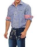 Gennadi Hoppe Trachten Herren Hemd Trachtenhemd Kariert Wiesn Oktoberfest (M, Blau/Weiß)