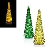 LED Tannenbaum aus Glas, 2 Farben zur Auswahl, 40 cm, 30 LEDs, Timer. Weihnachtsbaum, Tanne (Grün)