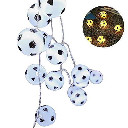 (Pawaca Weltcup-Fußball-Schnur-Lichter, 3M/9.84ft 20 LED-Außenlichterkette, Stecker, der Fußball-LED-Lampe für Bar-Haus, Garten, Partei Auflädt (Warmweiß))