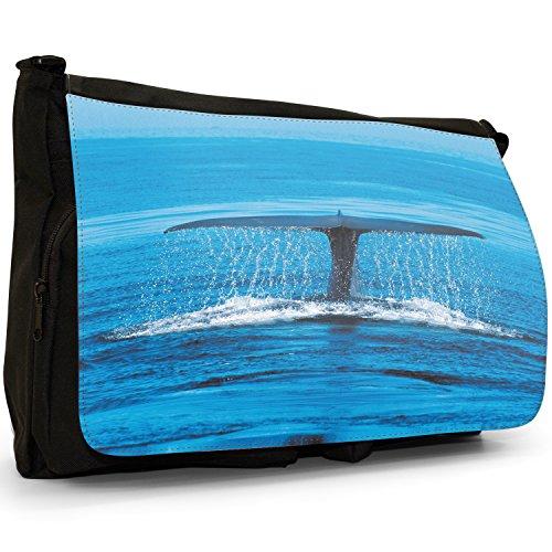 Fancy A Bag Borsa Messenger nero Jellyfish Blue Whale Tail