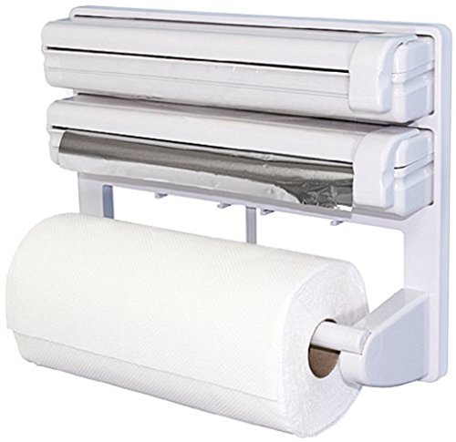 Triple papel dispensador de film transparente lámina de aluminio soporte para rollo de papel de cocina