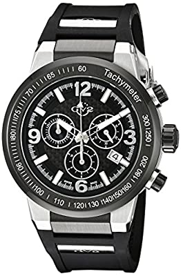 GV2 by Gevril Novara Mens Chronograph Swiss Quartz Black Silicone Strap Watch, (Model: 8203)