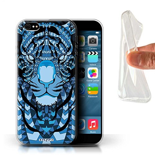 Stuff4 Gel TPU Hülle / Case für Apple iPhone X/10 / Tiger-Rot Muster / Aztec Tier Muster Kollektion Tiger-Blau