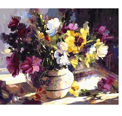 KMxm Ölgemälde Blume DIY Malen Nach Zahlen Färbung Nach Zahlen Auf Leinwand Home Decor Für Wohnzimmer