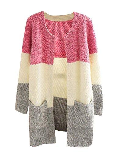 Femmes Chaud Cardigan À Manches Longues Loose Sweater Chandail Gilets Avec Poches Veste En Maille Rouge Gris