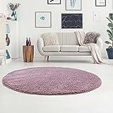 carpet city Teppich Hochflor Langflor Shaggy aus Micro-Polyester Einfarbig/Uni in Pastell Lila für Wohn- oder Schlafzimmer, Größe: 160 x 160 cm Rund
