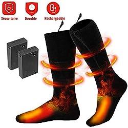 Chaussette Ski Thermique - Chaussette Chauffante Electrique Chauffe-Pieds Rechargeable Isolation Thermique -5 Heures Durable -Compatible avec Tous les chaussures pour Ski/ Pêche / Randonnée/ Camping