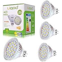 Liqoo® 4x 6w Mini Bombilla LED MR16 GU5.3 12V Blanco Neutro Natural 4500K 450Lm GX5.3 Lámpara Bajo Consumo Equivalente a 40w Foco Spot LED Luz de Techo 18x2835SMD Ra80